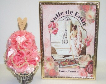 Home Decor, Bathroom Decor, Bedroom Decor, Pink, Paris France, Parisian, Roses, Pearl, Cream, Bath, Tub, Gift for Her, Mothers Day, Birthday