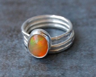 Rings, Opal, Ethiopian Opal, Opal Rings, Stacking Rings, Silver Rings, Sterling Silver Rings, Opal Stacking Rings, Emma's Jewels