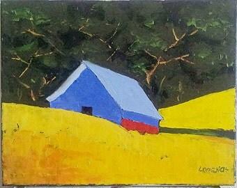 CALIFORNIA Plein Air FARM BARN Summer Meadow Field Landscape Art 16x20 Lynne French