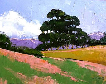 IMPRESSIONIST Oil Painting California Plein Air Landscape OAK TREES Wildflower Hills Lynne French 12x16