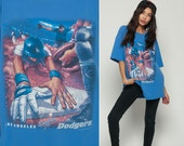 Dodgers Shirt Baseball T Shirt LA Dodgers TShirt Los Angeles California Sports Retro Graphic Vintage 90s Short Sleeve Blue Extra Large XL