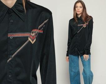70s Blouse Art Deco Print Shirt Disco Top Boho Shirt Black 1970s Hippie Novelty Vintage Collar Button Up Long Sleeve Large