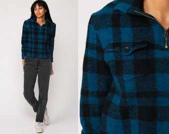 Pendleton Jacket Wool Plaid Coat 80s Jacket BUFFALO PLAID Hipster Preppy 1980s Blue Checkered Pullover Zip Up Vintage Extra Small xs