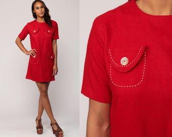 60s Mod Dress Mini Space Age Dress Red WOOL 1960s Shift Stewardess POCKET Vintage Twiggy Short Sleeve Sixties Minidress Medium