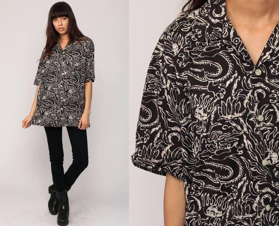 Batik blouse dragon shirt tribal shirt 90s grunge print up for Men s batik bay silk blend button down shirt