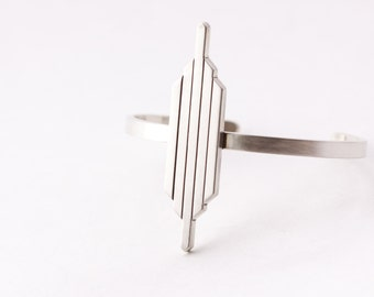 """Geometric bold statement bracelet cuff, a fashion-forward and worldly design constructed of thick and sturdy recycled silver - """"Zahara Cuff"""""""