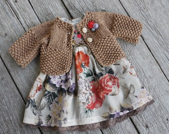 Waldorf Girl Doll Clothes - Dress & Sweater fit 16,18 (slim fit) inch dolls tan-red-brown