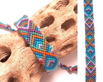 Friendship bracelet - diamond pattern - embroidery floss - woven - knotted - handmade - macrame - bright - blue - purple - cotton - string