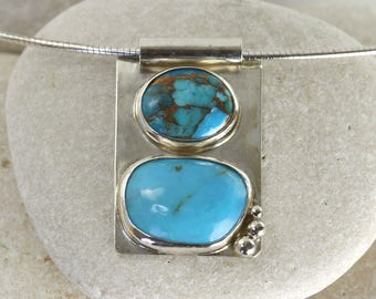 Modern Turquoise pendant in sterling silver with copper turquoise and silver accents