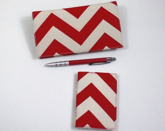 Chevron Card Case and Checkbook Cover for Duplicates with Pen Holder, and Card Case, 2 piece set, 4 Color Choices, Cotton Fabric