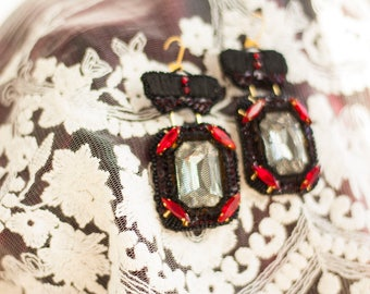 Cabaret // Vintage Inspired Hand Embroidered Black Statement Earrings OOAK