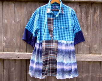 Upcycled Women Tunic Dress Plus Size Clothing L/XL Tunic Shabby Cottage Chic Lagenlook Tunic Artsy Upcycled Women Dress