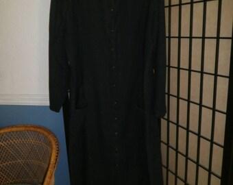 FLAX Jeanne Engelhart L Tunic Dress Black Button Front Linen