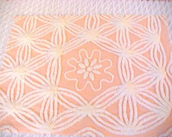 Cabin Crafts Peach and Ivory Floral Plush Vintage Cotton Chenille Fabric 18 x 27.5 inches