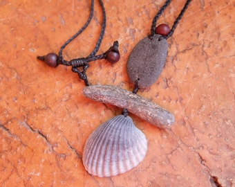 Beach stone, Shell, Mookaite macrame necklace  - mermaid - dancing dervish handmade in Australia - natural necklace adjustable length