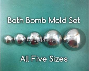 "MEGA Bath Bomb Mold Set, Heavy Duty, Stainless Steel, 5 sizes, (3.5"", 3"", 2.5"", 2"", 1.5"")"