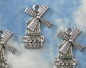 10 Moulin Rouge Charms Windmill Paris France Vacation Travel Charm Antique Silver Tone (P1798)