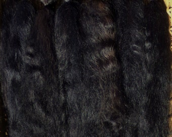 Combed Suri Alpaca Doll Hair 10-12 inches long half of an ounce Dyed Black with Brown highlights