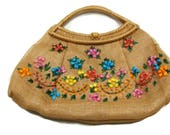 Vintage Straw Handbags Ladies Straw Handbags Straw Handbags For Summer Floral Handbags
