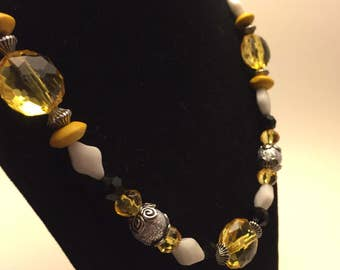 The Limoncello Sun Necklace - Yellow, Black and Silver Beads