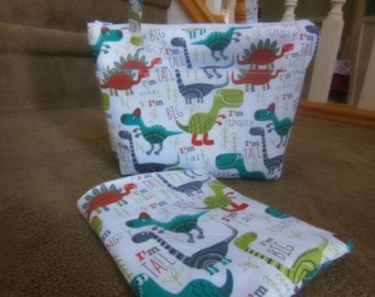 Insulated  Lunch Bag and Sandwich Bag snack bag, Diaper Bag, Dinosaurs, camp, beach bag