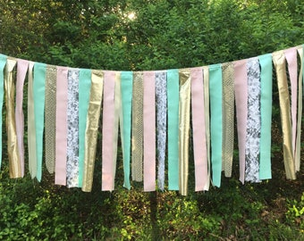 Free USA Shipping/4 foot Pink Shabby Chic Fabric Banner Garland/Pink Shabby Chic High Chair Banner/Pink Gold Mint Beige White Fabric Garland
