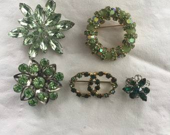 Group 5 Vintage Green Rhinestone Pins St Patricks Day