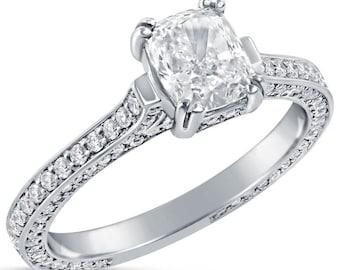1.78ctw Cushion Antique Three Sided Diamond Ring C57