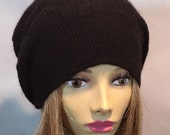 Anna, 100% pure cashmere hat,  slouchy, beanie, black cable, men or women
