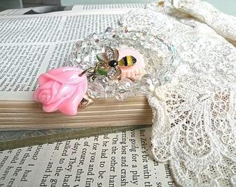 vintage crystal coil bracelet assemblage soft bangle pink flower bee charm cottage chic romantic