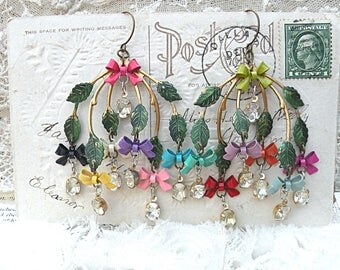 spring bow earrings assemblage branch chandelier fairy cottage chic colorful dangles glass stone drops