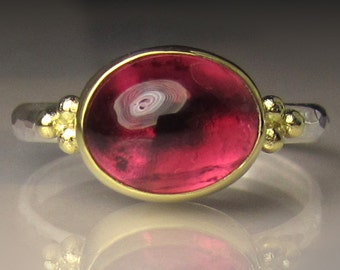Pink Tourmaline Ring, 18k Gold and Sterling Silver Granulated Ring, Pink Tourmaline Cabochon Ring, Made to Order