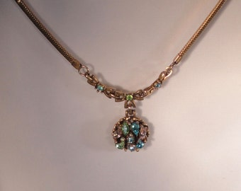 Signed BARCLAY Gold tone with Multi-color, Rhinestones Necklace