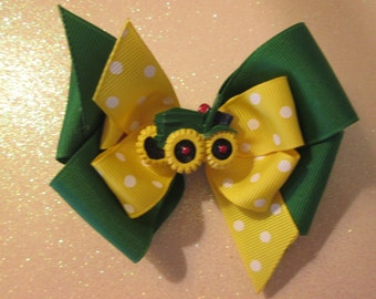 Toddler Hair Bow. M2M John Deere,  Yellow and Green  Double Boutique Hair Bow, John Deere Tractor Hair Bow,