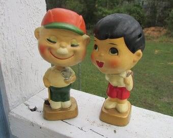 Rare Vintage Pair Composition GOLFER Couple NODDERS Bobble Head