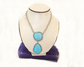 Vintage Turquoise Color Blue Necklace, Costume Jewelry,  Casual Jewelry, Womens Jewelry Accessories, Casual Necklace, Drop Pendant