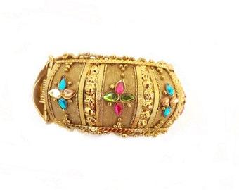Vintage Chunky Cuff Bracelet, Rhinestone Bracelet, Dressy Jewelry, Costume Jewelry, Womens Accessories, Ladies Accessories, Fashion Jewelry