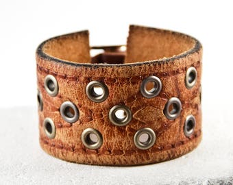 Brown Leather Jewelry Bracelets Vintage Tooled Distressed