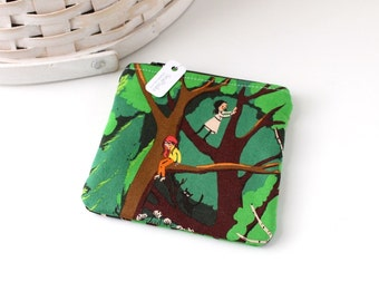 Green Trees Woodland Coin Purse Green Change Purse Forest Gift Card Holder