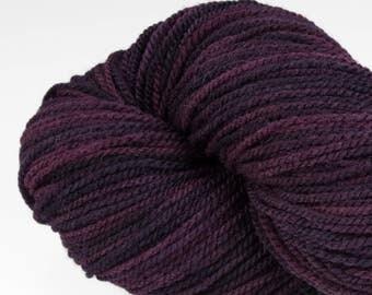Handpainted DK weight yarn, locally grown and spun Targhee wool, Meriwether, 100 g, Huckleberry