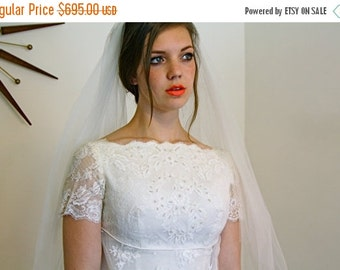 SALE 50% OFF RESERVED! Layaway -Vintage 60s Priscilla of Boston Lace Wedding Dress Empire Waist Embroidered Long Sheer Train Off White Mod 1