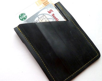 Mini Wallet Yellow Stitching Bicycle Inner Tube Recycled