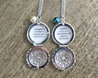 Mother Daughter Necklace Set Quote Locket Silver Filigree Customized. Jewelry Jewellery Two Cheeky Monkeys Feminine Typography Personalised
