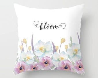 "Shabby chic home decor-""Bloom"" watercolor flowers 18x18 or 22x22 pillow, cottage decor, floral pillow, flowers, pastel pillow,typography"