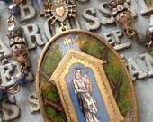 LAYAWAY FOR LISA-Antique Reverse Painted Reliquary Notre Dame Du Chene Assemblage Necklace-First Layaway Payment