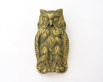 Vintage Brass Owl Paper Clip Holder, Highly Detailed Owl Note Clip, Bill Clip Clamp