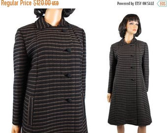ON SALE Vintage Winter Coat Sz M 50s 60s Black Brown Striped Wool Long Princess Jacket Free Us Shipping