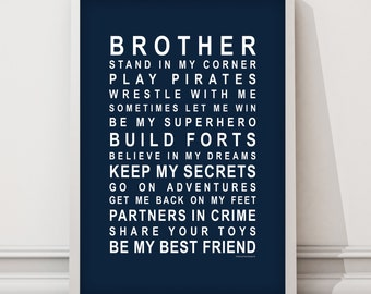 Brothers - Typography Wall Art poster for brothers
