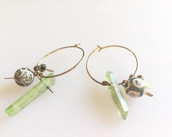 Green Quartz crystal dangle hoop earrings