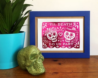 Day of the Dead Sugar Skull A5 Foil Print - Dia Le Los Muertos Art, Mexican Inspired Print, Metallic Foil Print, Wedding Art, Halloween Art,